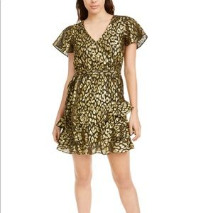 KENDALL + KYLIE Womens Gold Sequined Animal Dress